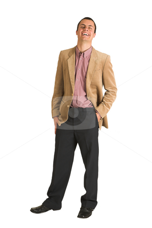 Businessman #195 stock photo, Businessman in a pink shirt and camel coloured jacket, lauging by Sean Nel