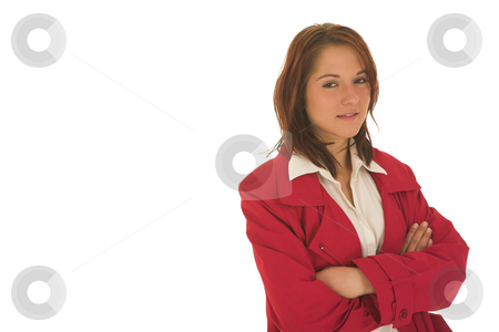 Business Woman  stock photo, Business woman with brown hair, dressed in a white shirt with red overcoat - copy space by Sean Nel