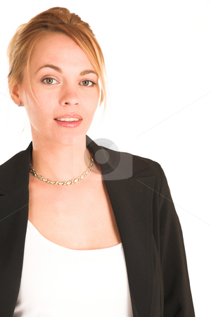 Businesswoman #235 stock photo, Blonde business lady in formal black suit. Portrait. by Sean Nel