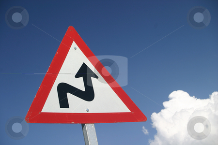Curves Ahead stock photo, Warning sign of curves in the road by Sean Nel