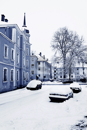 Straubing under snow stock photo, Cars in the street after heavy snowfall, Straubing, Bavaria, Germany - Blue Tone by Sean Nel