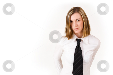 Felicity Calitz #16 stock photo, Business woman with white shirt and black tie - copy space by Sean Nel