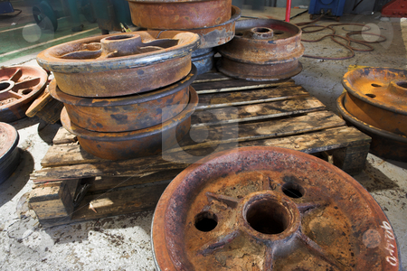 Rusted Train Wheels stock photo, Rusted metal wheels from train wagons used inside mines by Sean Nel