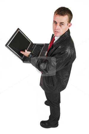 Business man #17 stock photo, Business man in a suit with a notebook computer by Sean Nel