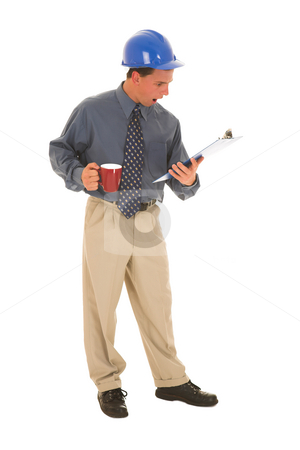 Businessman #102 stock photo, Man is upset looking at a clipboard. by Sean Nel