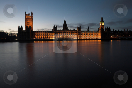Big Ben #9 stock photo, Big Ben and the house of parliament just after sunset on the river Thames by Sean Nel