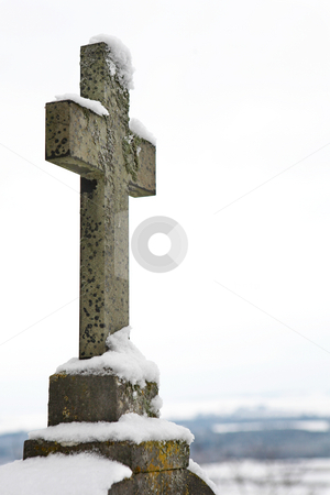 Kirchberg #02 stock photo, Gravestone covered in snow.  Copy space. by Sean Nel