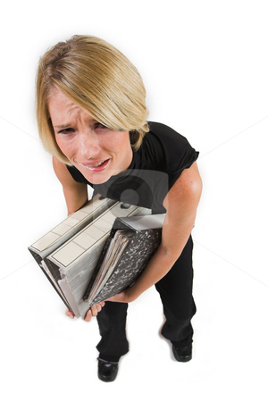 Business Lady #40 stock photo, Blond Business woman carrying files - Eyes Open, crying by Sean Nel