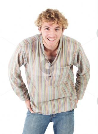 Portrait of Caucasian man stock photo, Portrait of handsome Caucasian man wearing casual clothes on white background. NOT ISOLATED by Sean Nel