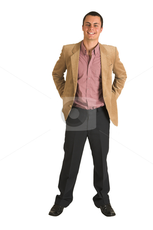 Businessman #215 stock photo, Businessman in a pink shirt and camel coloured jacket, smiling.  Standing with hands in his pockets. by Sean Nel