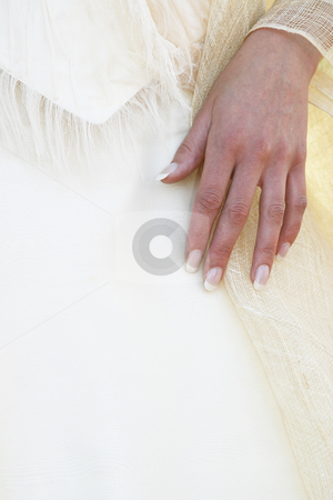 Hand stock photo, Hand on wedding gown by Sean Nel