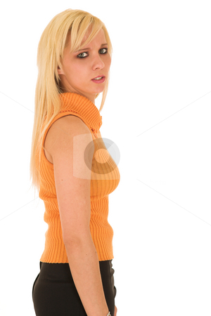 Sexy blonde businesswoman stock photo, Sexy young adult Caucasian businesswoman in a short black mini skirt with a orange striped top on a white background by Sean Nel