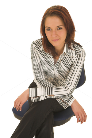 Business Woman  stock photo, Business woman with brown hair, dressed in a white shirt with black stripes - Sitting on an office chair by Sean Nel