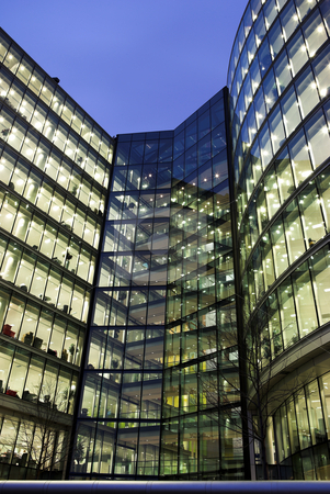 London #45 stock photo, Office block at nighttime. by Sean Nel