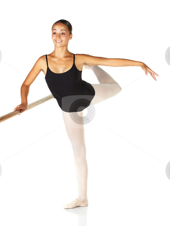 Ballet Steps stock photo, Young caucasian ballerina girl on white background and reflective white floor showing various ballet steps and positions. Grand Battement en Cloche derriere. Not Isolated. by Sean Nel