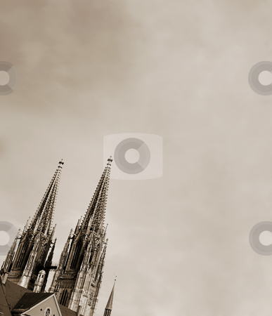 Spires of the Dom stock photo, Cathedral steeples of The Dom Cathedral in Regensburg, Germany during a sunny day in winter. Black and White by Sean Nel