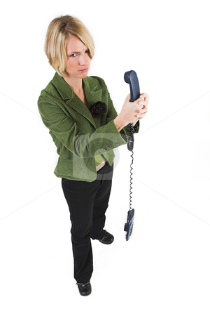Business Lady #16 stock photo, Blond Business woman with telephone by Sean Nel