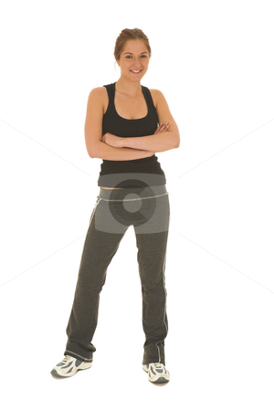 Gymbunny #6 stock photo, Brunette with black top and trainers by Sean Nel
