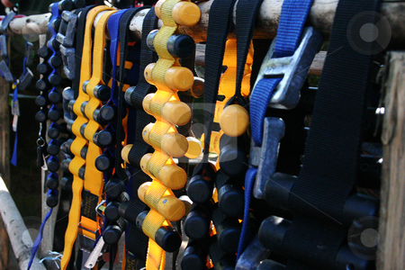 Divers weights stock photo, Dive belts with weights hanging out to dry by Sean Nel