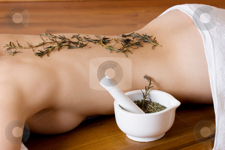 Trudy Lee Markotter #7 stock photo, Herbs on back of woman - beauty by Sean Nel