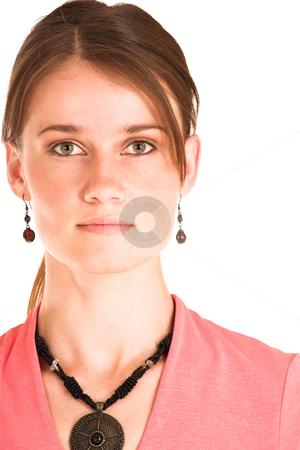 Business Woman #400 stock photo, Brunette business woman in  an informal light pink shirt. by Sean Nel