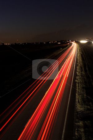 Roads #2 stock photo, Light trails on highway by Sean Nel