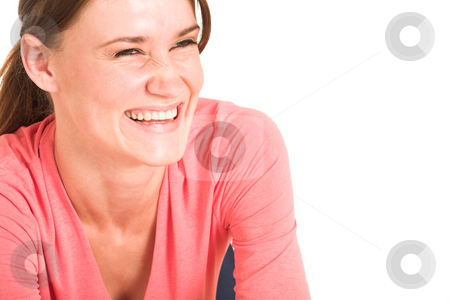 Businesswoman #412 stock photo, Brunette business lady in pink top.  Laughing - copy space. by Sean Nel