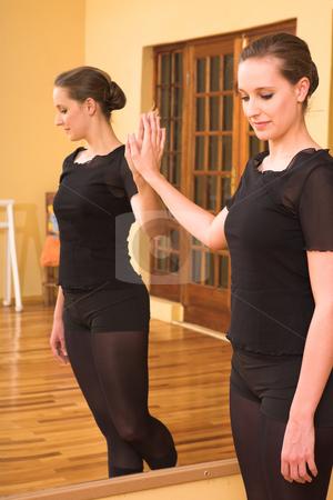 Ballerina #49 stock photo, Dancer standing next to mirror by Sean Nel