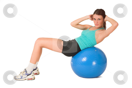 Gym #179 stock photo, Woman working out on blue ball. by Sean Nel
