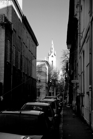 Street in Aix-en-provence  stock photo, Street with parked cars in Aix-en-provence, France.  Black an white. by Sean Nel