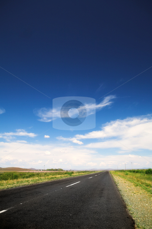 Rural road stock photo, Long straight road under a dramatic dark blue saturated sky with some fine white clouds, and lined with some greenery and small shrubs by Sean Nel
