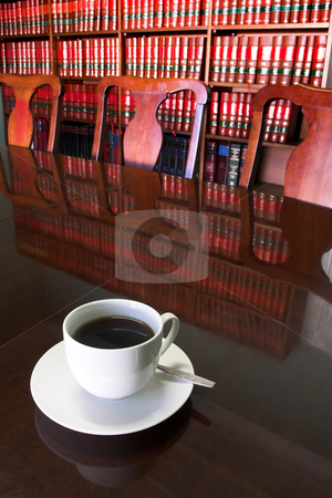 Legal Coffee Cup #2 stock photo, White Coffee cup with Legal Library in background by Sean Nel
