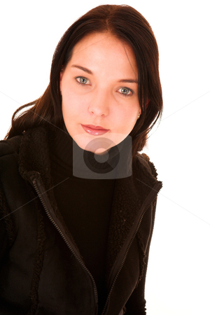 Woman #21 stock photo, Dark haired woman with green eyes by Sean Nel