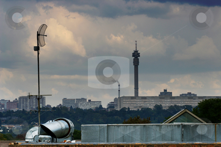 Modern Citties stock photo, Two communication towers by Sean Nel