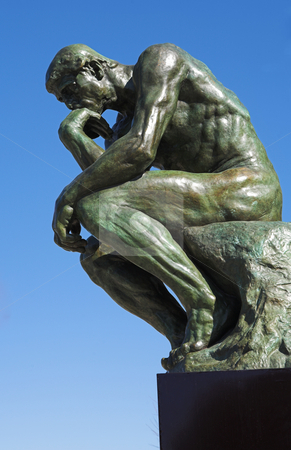The Thinker - St Paul #1 stock photo, A copy of the famous bronze sculpture of Auguste Rodin  by Sean Nel