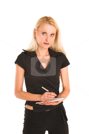 Businesswoman#373 stock photo, Blond Business Woman, serious, writing on note pad, portrait by Sean Nel