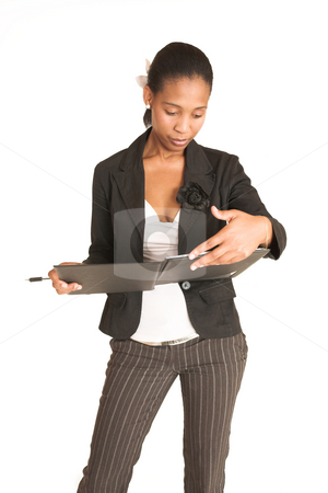 Mida Matsimela #9 stock photo, African business woman dressed in black jacket.  Looking through a file by Sean Nel