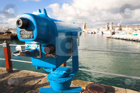 Coin opperated telescope stock photo, Coin operated view finder or telescope at the Cape Town Waterfront and port area by Sean Nel