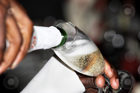 Champagne #6 stock photo, Man pouring champagne by Sean Nel