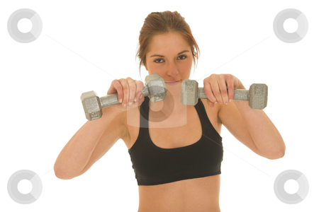 Gymbunny #31 stock photo, Brunette with black top with weights by Sean Nel