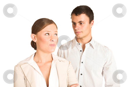 Business People #38 stock photo, Two business partners: one woman and one man. by Sean Nel