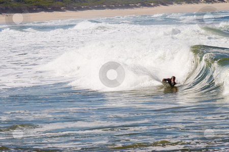 Body Boarder stock photo, Unknown bodyboarder on Kleinmond beach - South Africa by Sean Nel