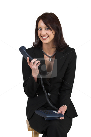 Luzaan Roodt #3 stock photo, Business woman in formal black suit, holing phone, smiling by Sean Nel