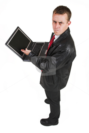 Business man #15 stock photo, Business man in a suit with a notebook computer by Sean Nel