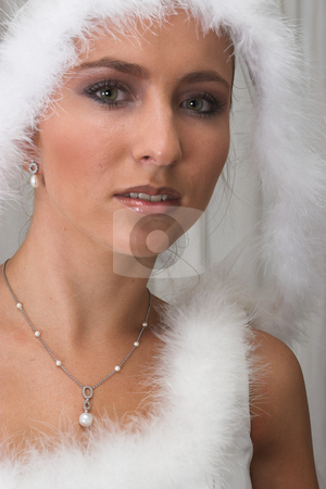 Snow Queen #2 stock photo, Bride in white feathers by Sean Nel