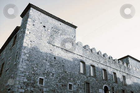 Building in Antibes  stock photo, Old castle-like building in Antibes, France. Blue tone. Copy space by Sean Nel