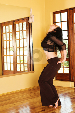 Sexy modern dancer in Black stock photo, Modern Dancer in black see-through outfit - Practicing in Studio by Sean Nel