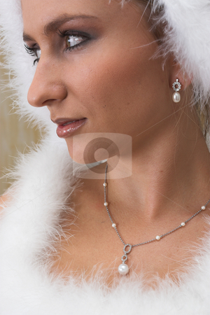 Snow Queen #1 stock photo, Bride in white feathers by Sean Nel