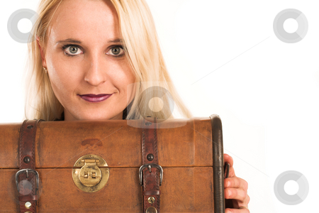 Business Woman #364 stock photo, Blond business woman,peeking over a vintage suitcase by Sean Nel