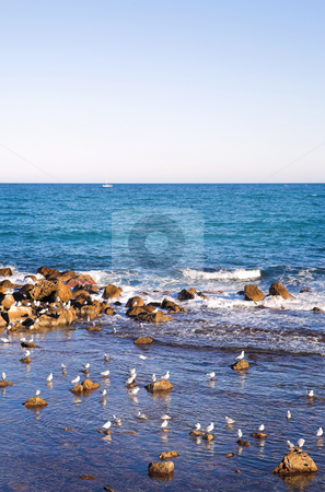 Antibes #154 stock photo, A view of the ocean  in Antibes, France.  Copy space. by Sean Nel